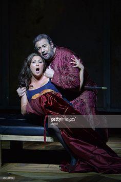 Anna Netrebko (Leonora) and Placido Domingo (Il Conte di Luna) are seen during the 'Il Trovator' photo rehearsal on August 4, 2014 in Salzburg, Austria.