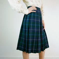 Vintage 1950s Skirt / Plaid Skirt by jessjamesjake on Etsy, $38.00 like sweater and skirt combo