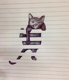 Cat on lined paper. It looks like it's stuck in window blinds!