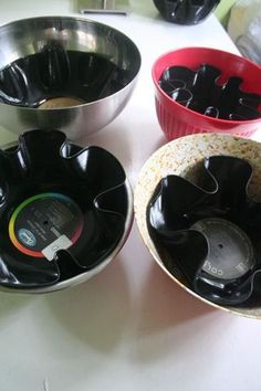 RECORD ALBUM BOWLS - I wonder if my husband would let me do this to any of the records in his collection ....