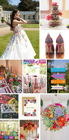 Mexican Folk Art wedding inspiration. Perfect for a summer siesta, this theme encourages a varied color palette of bright pinks, yellows, orange and blue, with fresh and beautiful blooms in abundance; a celebration of love, life, and happiness