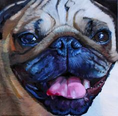 PUG MUG 1, painting by artist Suzanne Berry