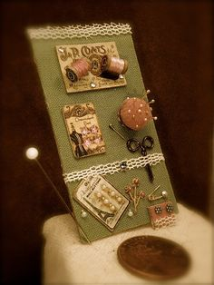 Miniature vintage style sewing collection for 1/12th scale doll house on Etsy, $28.50