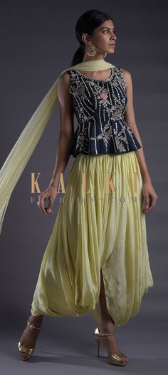 Banana yellow skirt in satin crepe with cowl drape. Paired with a contrasting navy blue peplum top in raw silk. Indian Dresses, Indian Wear, Salwar Kameez, Indian Fashion, Cowl, Peplum, Navy Blue, Crop Tops, Straight Cut