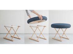 寺社で使う「胡床」を脚にソファーでもスツールでもオットマンでもない椅子を