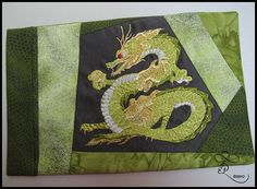 machine embroidered dragon, made on a friends computerised embroidery machine