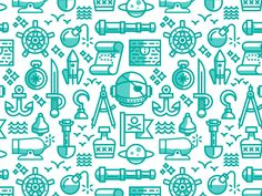 Space Pirate Pattern designed by Nick Kumbari for Leavingstone. the global community for designers and creative professionals. Pattern Illustration, Graphic Design Illustration, Digital Illustration, Flat Illustration, Web Design, Icon Design, Design Trends, Flat Design, Layout Design