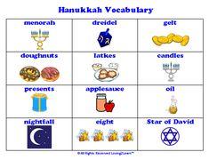 Hanukkah Vocabulary: Printable Vocabulary Chart and Learn Along Video What Is Hanukkah, Feliz Hanukkah, Hanukkah Crafts, Hannukah, Hanukkah 2019, Speech Activities, Kindergarten Activities, Bingo, Hanukkah Traditions