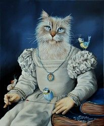 Anthropomorphic cat painting by French painter Sylvia Karle Marquet. Image Chat, Dog Artwork, Gatos Cats, Animal Society, Cat People, Pet Costumes, Dog Paintings, Animal Heads, Animal Fashion