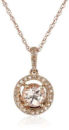 "10k Rose Gold Morganite Center and Diamond (1/10cttw, I-J Color, I2-I3 Clarity) Halo Pendant Necklace, 18"" Amazon Collection http://www.amazon.com/dp/B00NW6VRFQ/ref=cm_sw_r_pi_dp_vwoovb020ZFKV"