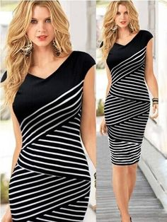 Black Striped Irregular V-neck Short Sleeve Dress