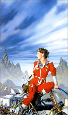 Don't know Michael Whelan, but I love his colours and his very detailed world makes me think of the work of Jim Burns. love the look of this woman with her bag full of crystal shards on some alien planet or on an Earth decades from now.