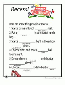 3 School-Themed Mad Lib Worksheets - (Recess, Lunch Room & Art Class)