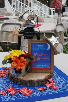25 best ideas about western centerpieces on Western Party Decorations, Western Parties, Cowboy Centerpieces, Centerpiece Decorations, Cowboy Party, Cowboy Theme, Western Theme, Western Decor, Fundraiser Party