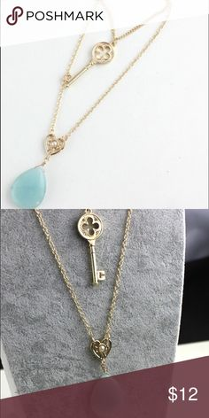Turquoise Pendant And Key Necklace Cute turquoise pendant and key necklace approx 30 in. I have included a photo that illustrates the length. Jewelry Necklaces