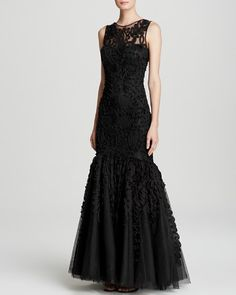 $JS Collections Gown - Chiffon Soutache Mesh Mermaid Hem - Bloomingdale's