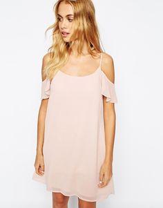 pink off-the-shoulder dress.