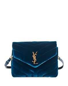 9330586c40f Saint Laurent Loulou Monogram YSL Toy Quilted Velvet Shoulder Bag