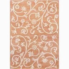 Mandara Hand-tufted Floral Orange Wool Rug (5' x 7')