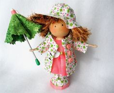 CUSTOM RESERVED Clothespin Art Doll for by HeartStringsHandmade