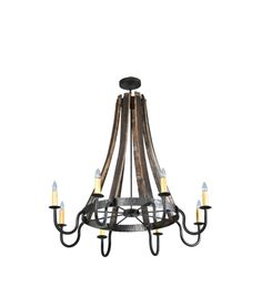 Wine Stave Chandelier. This and the wooden wheel would look good