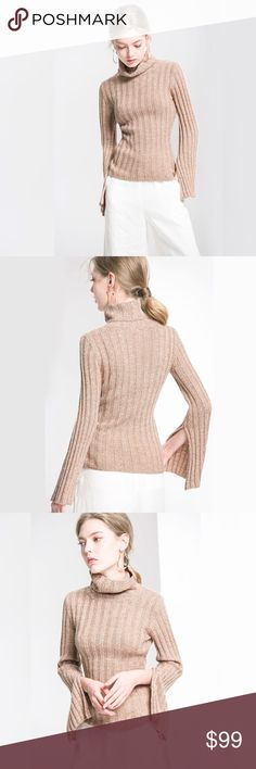 Ribbed Knit Long Split Sleeve Turtleneck Sweater Super soft, stretchy, comfortable ribbed knit, cozy turtleneck style, with long sleeves with a chic split down the side giving the look of a bell or flared sleeve. This luxe, gorgeous sweater is a great wear to work piece that easily pairs with jeans or a skirt for a casual, weekend look.  Available in sand beige, soft white, and navy blue.   ❌ Sorry, no trades.  loose fit cable waffle knit slouchy oversized chunky turtleneck sweater…