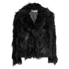 McQ Alexander McQueen Faux Fur Jacket ($570) ❤ liked on Polyvore featuring outerwear, jackets, black, mcq by alexander mcqueen, fake fur shrug, shrug jacket, shrug cardigan and faux fur shrug