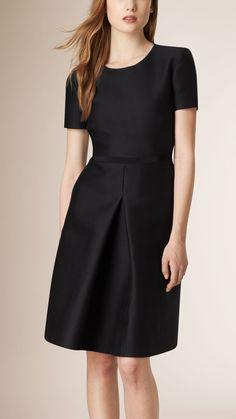 Sculptural Cotton Silk Dress Black | Burberry