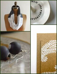 Kelly's paisley note cards give an old world flavor to this crisp, modern collection. www.etsy.com/... Gabrielle's cue ball earrings are spo...