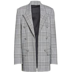 Women's Alexander Wang Leather Sleeve Check Blazer (18.853.415 IDR) ❤ liked on Polyvore featuring outerwear, jackets, blazers, blazer, coats, leather blazer jacket, tailor leather jacket, tailored blazer, leather blazers and button leather jacket