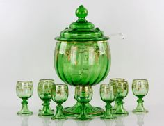 Late 19th century Austrian punch bowl, hand blown glass,
