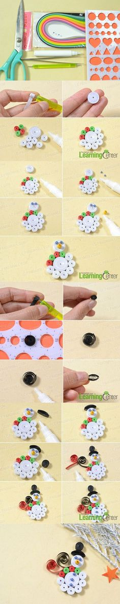 Pandahall Tutorial on How to Make a Christmas Paper Quilling Snowman Craft Arte Quilling, Origami And Quilling, Quilling Jewelry, Quilling Paper Craft, Quilling Flowers, Paper Crafts, Paper Quilling Tutorial, Paper Quilling Patterns, Quilling Designs