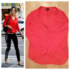 Sweet Red Pullover Blouse 🌺 Great for work! NWOT! Super comfortable fit. size XS. Can also fit a Small Tops Blouses