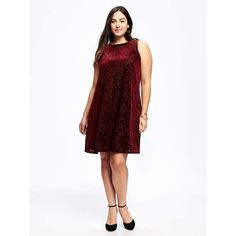 Old Navy Velvet Plus Size Swing Dress ($45) ❤ liked on Polyvore featuring plus size women's fashion, plus size clothing, plus size dresses, marion berry, plus size, plus size a line dresses, white dresses, white floral dress, plus size floral dresses and floral swing dress