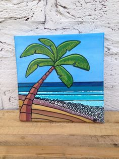 Original hand painted square canvas palm tree tropical beach scene. Surf art by Spellboundbythesea on Etsy