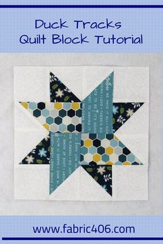 Duck Tracks Quilt Block Pattern - - The Duck Tracks quilt block is an easy pattern and goes together quickly. I've made my sample with a light background but the pattern looks good with a dark background and lighter fabrics for the star design. Star Quilt Patterns, Star Quilts, Mini Quilts, Pattern Blocks, Pattern Fabric, Triangle Quilt Pattern, Triangle Quilts, Patchwork Patterns, Craft Patterns