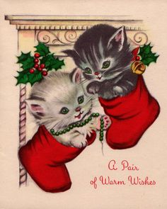 Vintage 1950s A Pair of Warm Wishes Greetings by poshtottydesignz