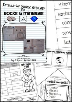 Included in this notebook you will find:  Flap books, Science experiments, Written response questions, Task Cards, several independent practice sheets, Vocabulary Review sheet, Rocks & Minerals Quiz and answer keys.