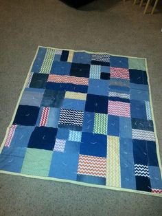 Random pieced denim and chevron picnic blanket. February 2016