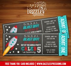 Printable Space Rocket Ship Chalkboard Ticket Birthday Invitation   Outer Space   Galaxy   Planets   Planetarium   Matching Printable Party Package Decor   Kids Birthday Party Invite   FREE thank you card included   Banner   Cupcake Toppers   Favor Tag   Food and Drink Labels   Signs    Candy Bar Wrapper   www.dazzleexpressions.com