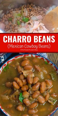 Slow Cooker Charro Beans (Frijoles Charros) for Cinco de May.- Slow Cooker Charro Beans (Frijoles Charros) for Cinco de Mayo These flavourful beans can be cooked not only in a slow cooker/crock pot, but also in an instant po - Authentic Mexican Recipes, Mexican Food Recipes, Mexican Desserts, Slow Cooker Recipes, Crockpot Recipes, Soup Recipes, Cooking Recipes, Cooking Tips, Lima Bean Recipes