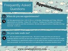First in our series of Frequently Asked Questions: Appointments!