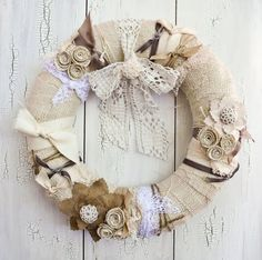 Vintage Wreath...inspires ideas for a wreath of my own.