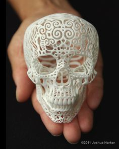 3d printed filigree skull. This is the original design as featured on Kickstarter. It became their #1 most funded sculpture project of all time. Dimensions are 2.6 x 3.5 x 3.5 inches ( 6.7 x 8.8 x 8.9 cm). Material is 3d printed polyamide (essentially a nylon & glass powder fused together