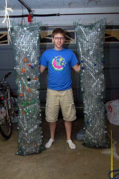Bottles held together by garden mesh