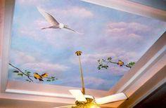 Ideas de techo, diseño interior moderno con papel pintado
