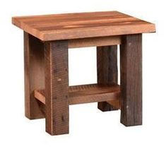 Almanzo Reclaimed Barnwood End Table Authentic barnwood defines this rustic table. Thick barn beam style legs and lots of natural markings. Option to add a lower shelf or go without one.