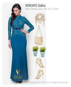 Baju Kurung Moden Terkini 2016 by vercato on Polyvore featuring Baju Kebaya Lace with Bow Detail - Vercato in Safira in Green.SHOP NOW: www.vercato.com