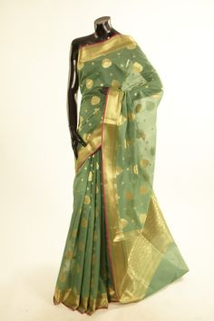 Banarsi- kora silk spring sea green saree with blouse