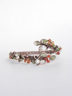 Bracelet carnelian spring trend wire wrapped jewelry, carnelian flowering bangle, blossom bangle with pearls and carnelian flowers